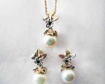 Floating Pearl Necklace and Earring Set - in 14K & 18K Gold