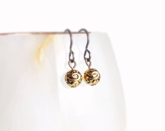 Tiny Earrings Tiny Vintage Antique Gold Bead Earrings Small Simple Hypoallergenic Earrings Tiny Jewelry