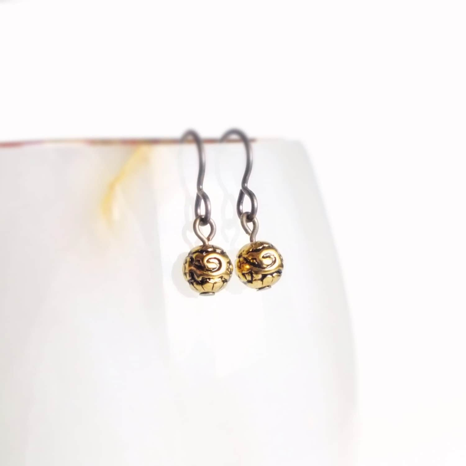 tiny earrings tiny vintage antique gold bead earrings small