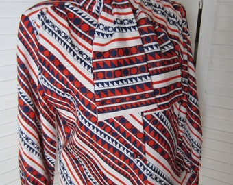 Blouse, Shirt Red, White and Blue Mod Geometric by Terry - Size M-L