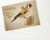 Goldfinch postcard - Clockwork Bird steampunk illustration print