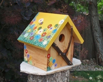 Bird House - Bright Floral Bird House in Reclaimed Wood & Natural Branches - Handmade and Painted - Charming Whimsical Bird House, Songbirds
