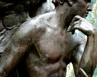 New York City Print, Guardian Angel Statue, Urban Art, Teal Angel Art,Male Angel Print,Angel Photography,NYC Photography,Romantic Wall Decor