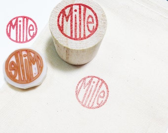 personalized name hand carved rubber stamp. custom made shop name hand lettered stamp. japanese inkan style. 15mm-20mm.  mounted