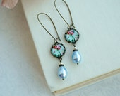 Blue and Pink Red Floral Pearl Earrings.  Something Blue.  Bridesmaids Gift, Blue Wedding. Summer Blue Wedding, Rustic Blue Country. Garden