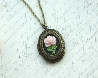 Sweet Pink Tiny Rose Flower, Stalk of Rose, Rose Oval Locket Necklace. Bridesmaid Gift. Best Friends, Mother, Daughter, Christmas Gift, Wife