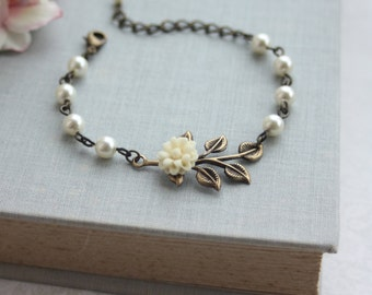 Creamy Ivory Dahlia Mum Flower, Brass Leaf, Ivory Pearls Bracelet. Bridesmaid Gift. Ivory Cottage Rustic Wedding. Ivory Pearl Bridal Wedding