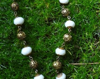 Vintage Milk Glass Rhinestone Necklace--White Wedding