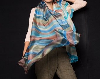Rustic Stripes Hand Painted Silk Scarf/ Handpainted scarf shawl/ Abstract scarf in blue, brown/ Tcherga Shawl/ Luxurious scarves/ SS16KLARA