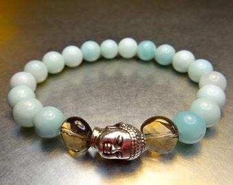 Tranquility - Stackable Gemstone Bracelet - Mala Meditation Beads - Amazonite, Smokey Quartz and Silver Buddha