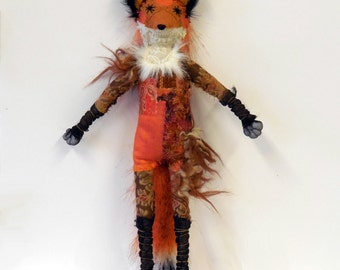 Charming fox - textile animal collectible - MADE TO ORDER