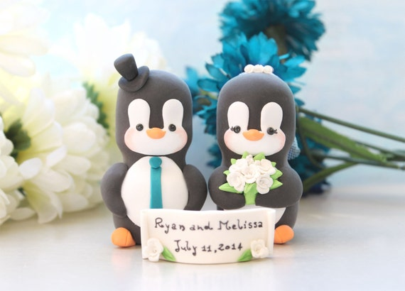 Penguin wedding cake toppers - elegant cute custom bride and groom with banner - unique wedding gift bridal shower personalized figurine