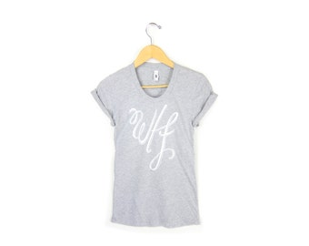 WTF Tee - Girly Fit Scoop Neck Tshirt with Rolled Cuffs in Heather Ash Grey - Women's Size S-4XL