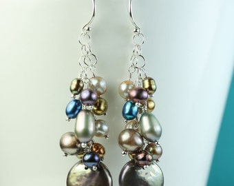 Pearl cluster earrings, multi colored pearls, cascade of pearls, Argentium silver French hooks, long dangle pearl earrings, by art4ear