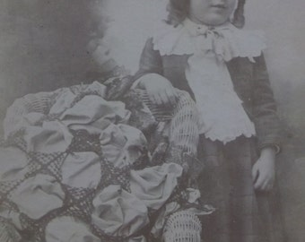 Pretty Young Girl - Long Ringlet Curls - Lrg Patchwork Pillow - Antique Cabinet Photo