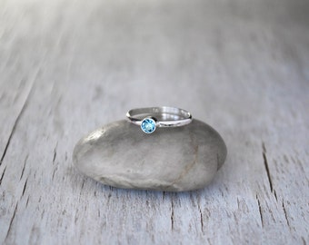 Birthstone Stacking Ring, Sterling Silver Birthstone Ring - Choose a Birthstone Silver Ring  - Sterling Birthstone Stacking Ring