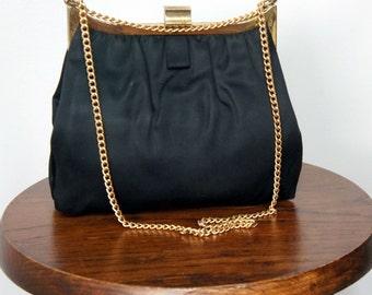 Handbag Vintage 1950's Evening Bag Black Satin Purse 1950's Chain Handle Handbag