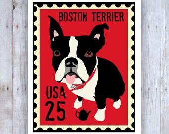 Boston Terrier Art, Boston Terrier Poster, Boston Terrier Stamp, Stamp Art, Dog Stamp Art, Boston Terrier Picture, Boston Terrier Decor