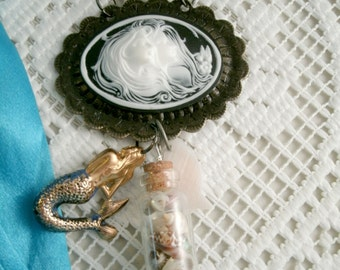 Mermaid Necklace Cameo Sea Goddesses Pendant with gold plated vintage memaid charm Seashell filled glass bottle vial