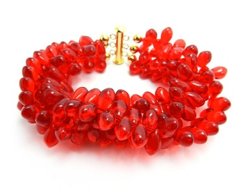 Red Cuff Bracelet Twisted Wide Bracelet Multi Strand Beaded Bracelet