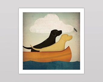 Custom Personalized TWO DOGS Labrador Canoe Company Graphic Art Giclee Print  Signed
