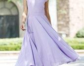 purple dress Woman Maxi dress chiffon dress custom made  bridesmaid dress (1030)