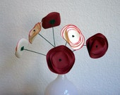 Kissed Red Popnuculus Paper Flower Mix Bouquet, Home Decor, Paper Art, Handmade Flowers, Table Decor, Wedding Decoration, Spring Flowers
