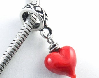 Hanging Heart Charm, Red Lampwork Glass Bead for Large Hole Charm Bracelets, Love, Romantic