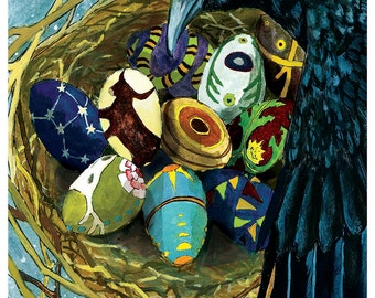 Crow Nest Print -- Abacus Corvus
