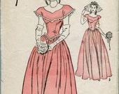 Advance 4222 - Vintage 40s Wedding Gown Pattern - Bridesmaid Evening, Prom, Cotillion 30 bust