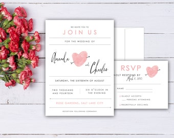 Fingerprint Heart Wedding Invitation and RSVP Card Set Made with your Thumbprints - Romantic Wedding Invites shown in Baby Pink