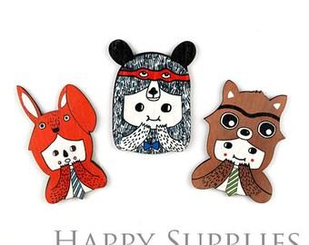 3Pcs Mini Handmade Colorful Bear Charms / Pendants (CW016)