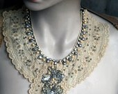 Allemande - regency inspired delicate necklace, antique lace, beadwork, piece of wearable art