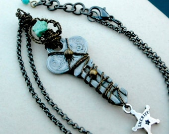 Western Steampunk Key Lariat Sherifs Vintage Wire Wrapped Steam Trunk Key and Badge