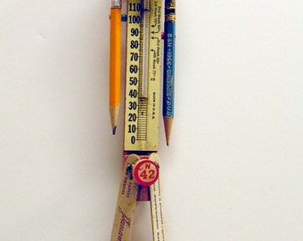 Assemblage Art Doll Mixed Media Thermometer Temperature Character