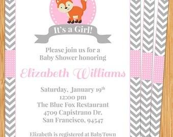Cute Fox Baby Shower Invitation
