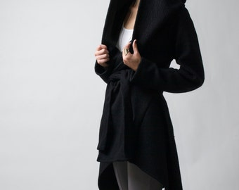 Black Coat with a Hoodie / Asymmetrical Sweater Hoody / Oversize Designer Coat / Asymmetric Autumn Coat / marcellamoda - MC075