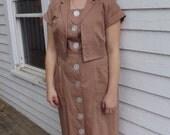 Vintage 50s Sleeveless Dress Button Down Neutral Persimmon L XL