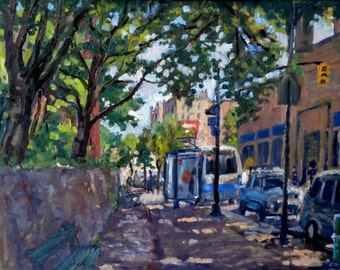 Way Up Broadway, Manhattan NYC. 11x14 Oil on Panel, American Impressionist New York Cityscape, Signed Original Realist Oil Painting