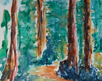 Watercolour Path Through the Woods - Pine trees fine art 11x14 GICLEE print