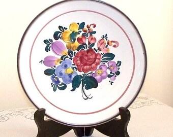 Gmundner Keramik Dessert Plate - Hand Painted Flower Bouquet - Austria (1193)