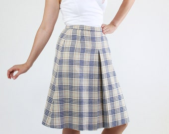 SALE - Vintage 1980s Classic Cream Brown Black Plaid Wool Midi Skirt