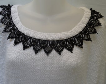 KNITTED LADIES SWEATER: size medium to large,White  Sweater,  sleeveless, scoop neck tank top, fitted style waist with black embroided trim