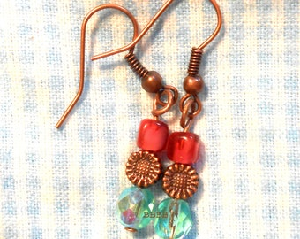 Raspberry Cream Daisy Earrings Antique Copper French Hooks - Surgical Steel French Hooks Option USA