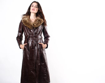 1960s Long Chocolate Leather Coat with Fur Collar  - 60s Brown Leather Coats  - 1960s Leather Coats  - The Dangerous Coat - 6019