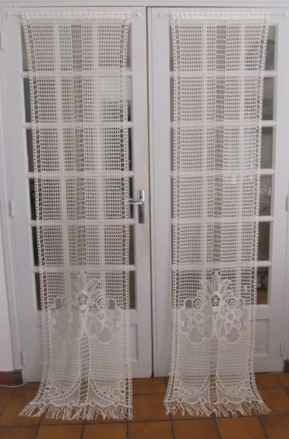 French Door Panels Cotton Lace Curtains Ivory Lace Curtains