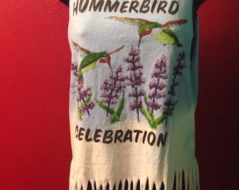Humming Bird Upcycled Tank top, fringed and bleached