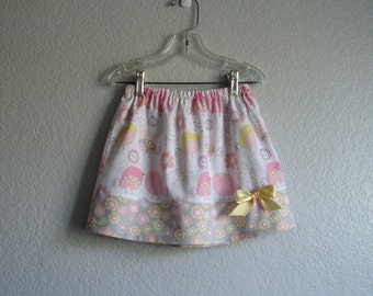 Bird Skirt for Little Girls - Pink, Grey, White and Yellow - Birds, Buttons and Flowers Skirt - Size 12m, 18m, 2T, 3T, 4T, 5, 6  or 7