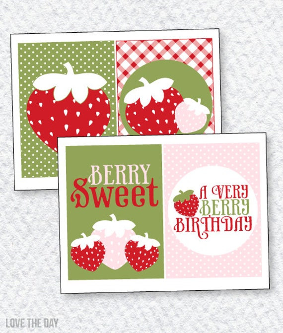 Strawberry Party PRINTABLE 5x7' Party Signs (INSTANT DOWNLOAD) by Love The Day