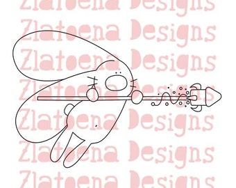 Digital stamp cute Bunny fly on rocket,Printable Line art for Card and Craft Supply, Vector graphics, Digital image, Clipart commercial use
